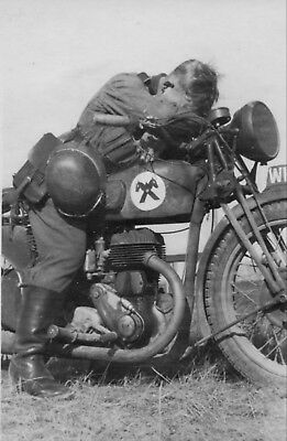 WW2 Photo WWII Tired German Soldier on Motorcycle World War Two Wehrmacht / 2465