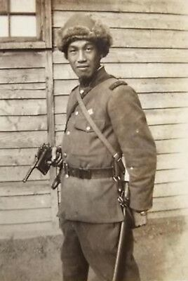 WWII Photo WW2 Japanese Soldier Manchuria 1937 Mauser World War Two Japan / 2461