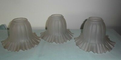 Three Pink Vintage Frosted Glass Frilled Light Shades