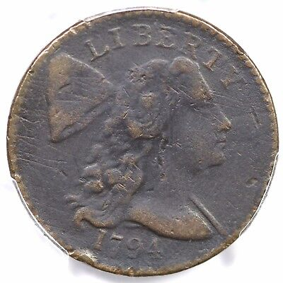 1794 S-57 PCGS F Details Head of 1794 Liberty Cap Large Cent Coin 1c