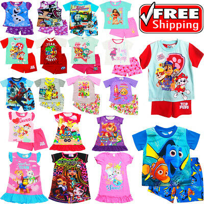 New Size 1-12 Kids Summer Pyjamas Boys Girls Top Tshirt Pj Pjs Sleepwear Nightie