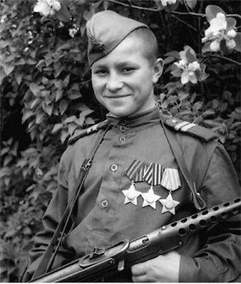 WW2  Photo WWII Decorated Young Soviet Soldier Russia  World War Two / 1600