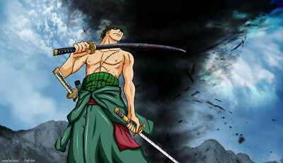 """090 One Piece - OP Zoro Luffy Fighting Hot Japan Anime 41""""x24"""" Poster"""