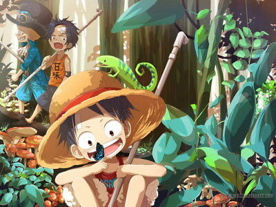"""151 One Piece - ACE OP Monkey D Luffy Fighting Japan Anime 32""""x24"""" Poster"""
