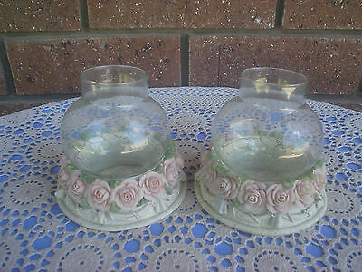 2 Dezine Hand Painted Candle Holders With Flue Victorian Theme Roses