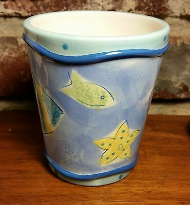 "Favorite Things WHIMSICAL FISH Bath Cup / Tumbler, 4 1/8"", Blue, Excellent"