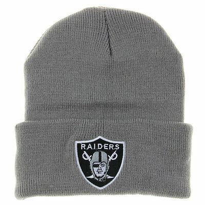 Oakland Raiders Beanie Logo NFL Football Skull Cap Embroidered On Field Hat Game