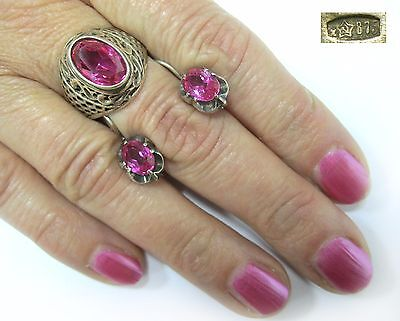 Vintage SET Earrings Ring SILVER 875 GOLD PLATED SIZE 8.25 Corundum 8,72g USSR