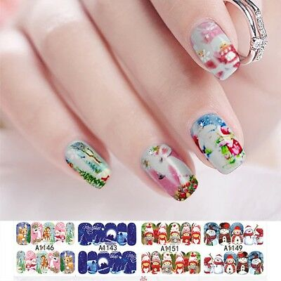 12 Sheets Christmas Water Transfer Nail Art Decoration Stickers Decals Xmas Pro·