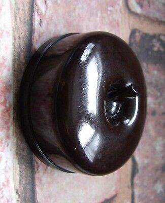 1 Way Fully Restored/Converted Vintage Art Deco Bakelite Light Switch GEC MUTAC
