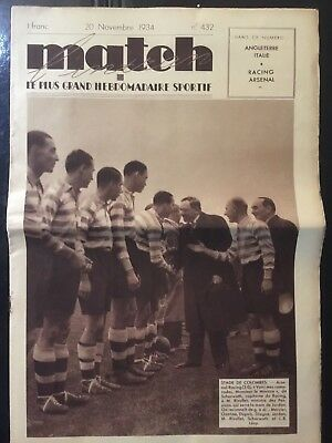 1934 Friendly. Racing Paris, 0 - Arsenal, 3. French sports newspaper