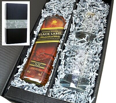 Johnnie Walker Whisky Black Label 40% 0,7l + 2 Tumbler Gläser in Geschenkkarton