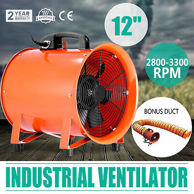 """12"""" Extractor Fan Blower Ventilator portable 5m Duct Hose High Rotation exhaust"""