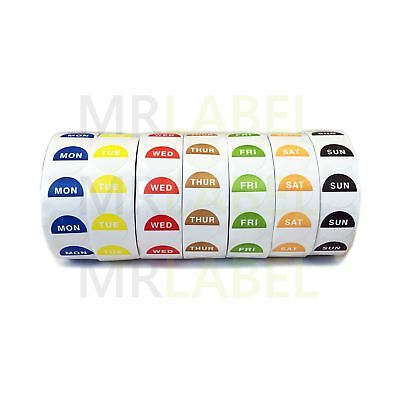 Set of 7 Rolls - Day Dot Food Stickers - Catering Labels Individual Dispensers