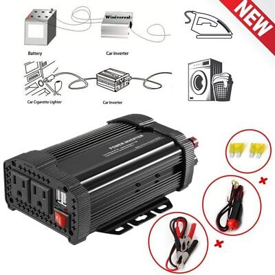 1200/2400WATT DC 12V-AC 110V Car Vehicle Power Inverter Charger Converter USB AB