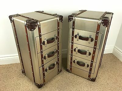 PAIR of Slimline Aluminium Industrial Vintage Aviator Bedsides CHEST OF DRAWERS