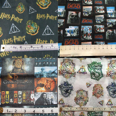 Harry Potter, Game of thrones, Walking dead print fabric 147cm x 50cm CHOOSE!!!