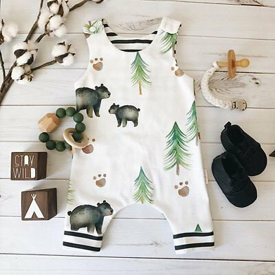 Lovely Newborn Baby Boys Girls Sleeveless Print Romper Jumpsuit Bodysuit Clothes