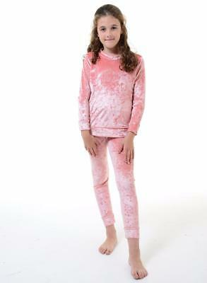 Childrens Kids Girls Tracksuit Jogging Velour Lounge Wear Casual Two Piece Suit