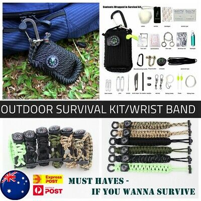 EMAK Outdoor Activities Survival Kit/Wrist Band Whistle Compass Rescue Bag