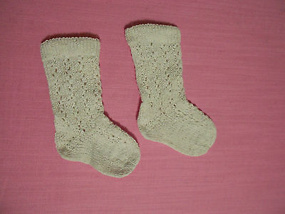 Antique Doll socks for Antique French or German doll,100% Cotton,Handknitted