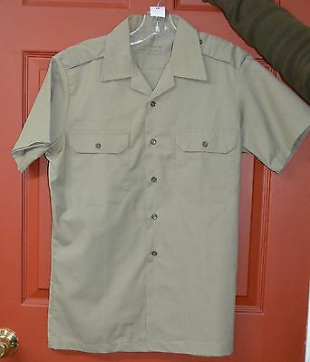 Canadian army tropical tan shirt short sleeves sz 15 neck with flag ( CH-5 )