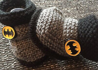 Brand New Unisex baby booties 3-6 Months Batman Hand Knitted By Annie