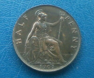 1902 Edward VII Halfpenny  High Grade with traces of Lustre