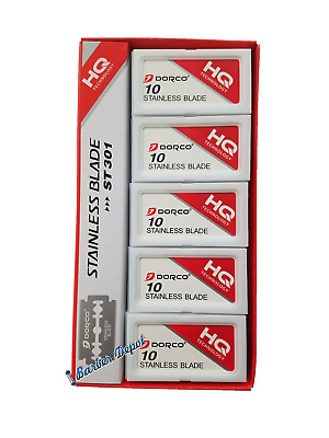 100 Dorco ST-301 Stainless Double Edge Razor Blade Platinum - Barber Supply