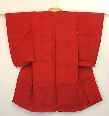 Authentic Japanese red jyuban juban for women, S, Japan import, silk (AC1744)