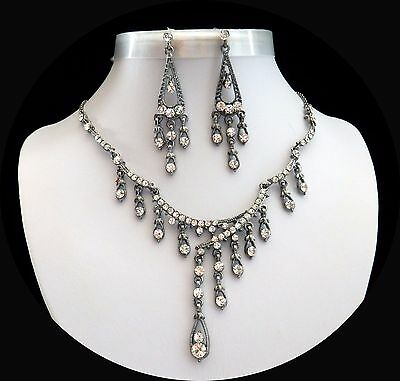 Vintage Style Necklace/Earrings, Clear Crystals, Wedding/Party Jewelry N3135
