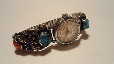Vintage Native Sterling Silver Watch Ends Turquoise Coral Chevron Ladies Watch