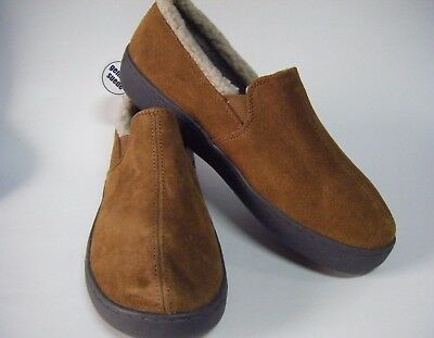 Mossimo Mens' Sherpa Lined Suede Loafer Slippers Brown Walnut
