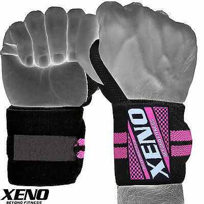 """Weight Lifting Wrist Wraps Support Gym Training Fitness Bandage Strap Pink 13"""""""