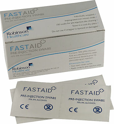 FastAid 70% IPA Alcohol Wipes Pre-Injection Swabs NHS GRADE Like Alcotip TATTOO