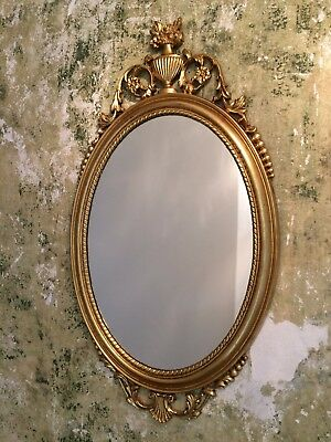 Vintage Gilt Roccoco Style Ornate Oval Mirror Wall Mounted Excellent Condition