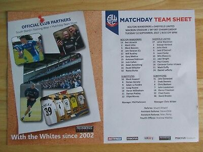 Bolton Wanderers V Sheffield United Official Colour Teamsheet 12/09/2017