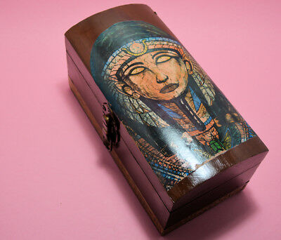 Ooak Egyptian Cleopatra Sarcophagus Mummy Wooden Box