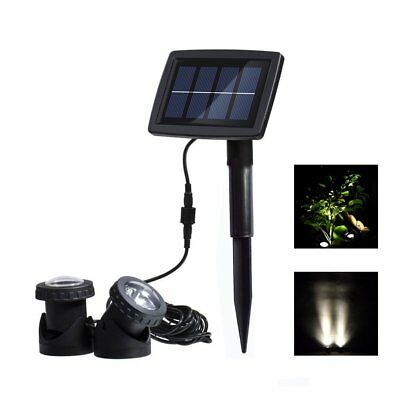 Solar Spotlights with 2 Submersible Lamps Underwater Pond Lights for Garden,
