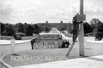 Photo Taken From A 1948 Image Of Erecting Signs At Wembly For The 1948 Olympics