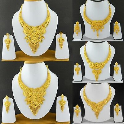 Indian Bollywood 22k Gold Plated Fashion Jewelry Wedding Necklace Earrings Set