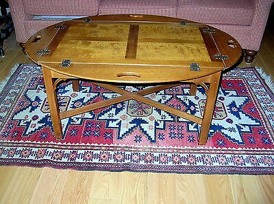 Vintage Kittinger Cross Stretcher Mahogany And Maple Butlers Table