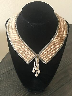 Antique Satin Beaded Faux Pearl Collar Choker Necklace