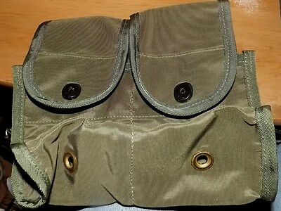 """NOS New Old Stock Military Style Olive Drab Dual Pocket Belt Pouch 9""""Wx4""""Dx9""""H"""