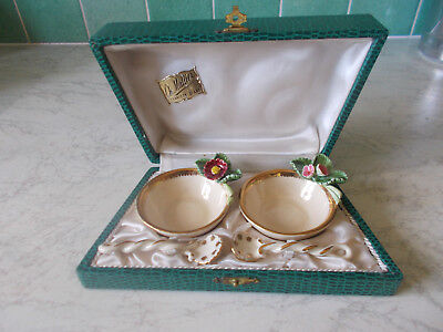 Vintage pair of french ceramic salts(salieres) CH. Mallier