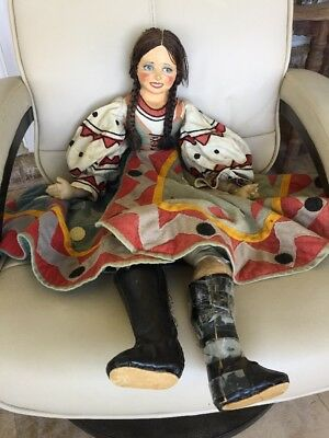 Vintage 33 Inch Painted Face Paper Mache Spanish Style Doll