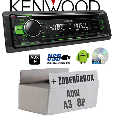 Kenwood radio per AUDI A3 8P PASSIVO VERDE CD/MP3/USB android-steuerung
