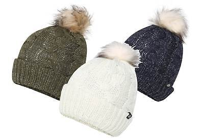 Skats Thinsulate Lurex Cable Knit Fur Pom Beanie Hat - One Size