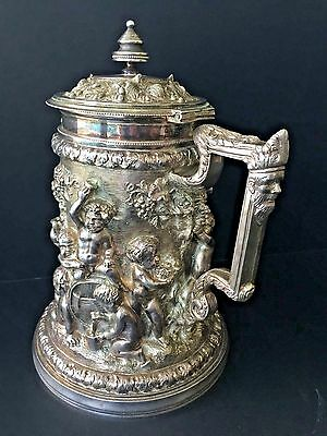 Beautiful Detail Silver Plate Ice Water Pitcher Tankard Cherubs Grapes Relief