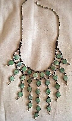 Handmade Afghani Tribal Large Sea Green Agate Cabochon Necklace